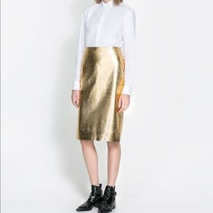 Zara Gold Leather Skirt